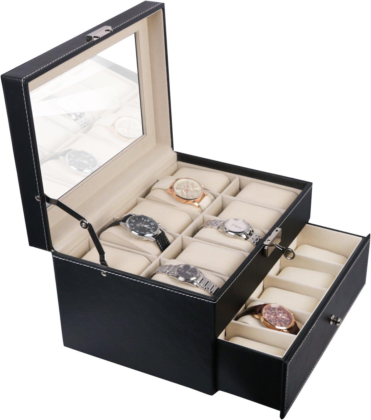 Vox Relojes Caja piel hombre negro reloj maletín Caja: Amazon.es: Joyería