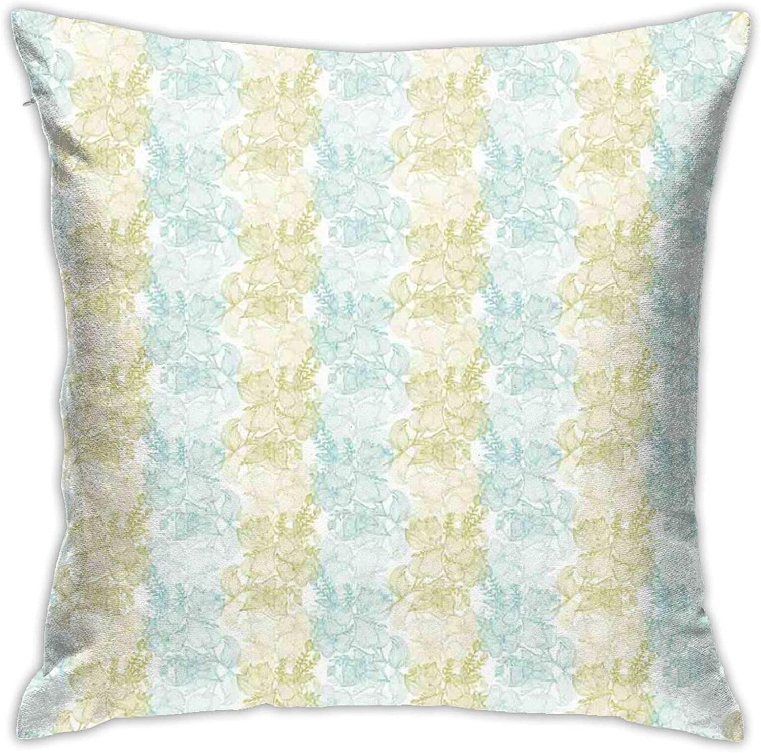 FDIN Line Art Green and Blue Soft Pastel Flowers Motif English Garden Printed Cushion Cover Throw Pillow Cover, Home Sofa Bed Chair Cushion, 18 inches x 18 inches