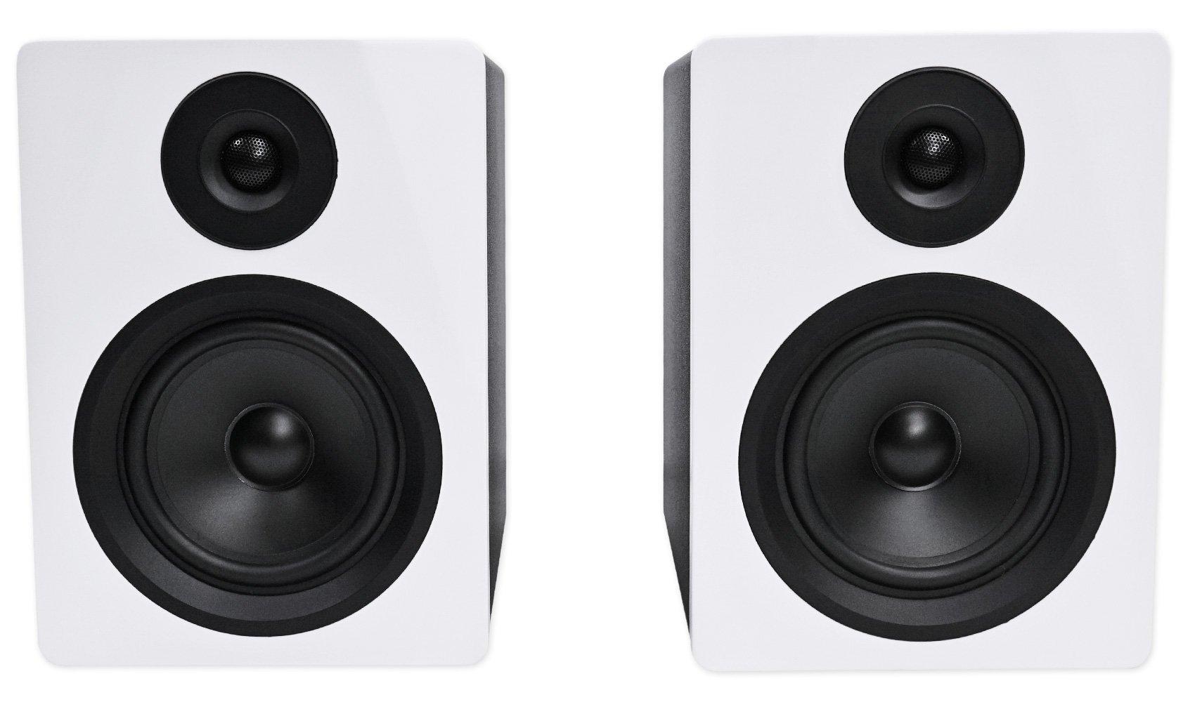 Rockville APM5W 5.25'' 2-Way 250 Watt Powered USB Studio Monitor Speakers in White (Pair)