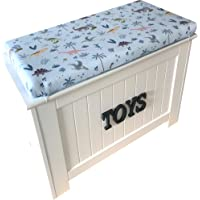 Wooden Kids Storage Box for Toys (Dinosaurs) (Blue Letters)