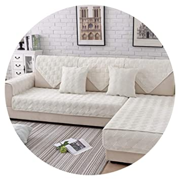 Amazon.com: Grey Pink Plaid Quilted Plush sectional Sofa ...