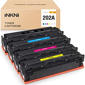 INKNI Compatible Toner Cartridge Replacement for HP 202A CF500A CF501A CF503A CF502A for Color Laserjet MFP M281fdw M254dw M281cdw M280nw M254nw M254dn M281dw (Black Cyan Magenta Yellow, 4-Pack)