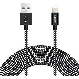 AUKEY Cable Lightning 2m [ Apple MFi Certificado ] Nylon Trenzado Cable iPhone para iPhone SE / 7 / 7 Plus / 6 / 6s / 6 Plus / 6s Plus / 5 / 5c Negro