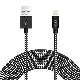 AUKEY Câble iPhone 2m [ MFI Certifié par Apple ] en Nylon Câble Lightning avec Coque en Aluminium pour iPhone SE / 6s / 6s Plus / 6 / 6 Plus / 5 / 5c ( Noir )