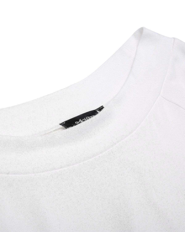 ACHIOOWA Donna Maglietta Maglie T-Shirt Manica Lunga Senza Spalline Moda Casual Elegante Top Basic