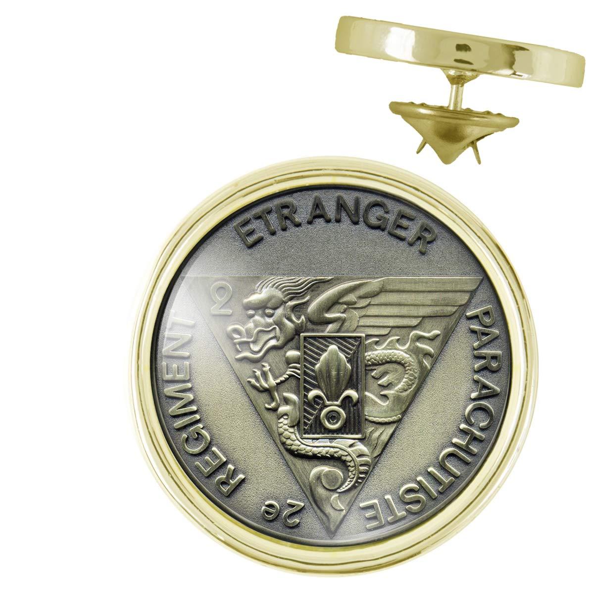 Pins Dor/é 20mm Legion Etrang/ère 2e REP R/égiment Etranger Parachutiste Pins Bouton Epinglette