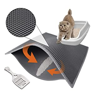 """Pieviev Cat Litter Mat Anti-Tracking Litter Mat, 30"""" X 24"""" Inch Honeycomb Double Layer Waterproof Urine Proof Trapping Mat for Litter Boxes, Large Size Easy Clean Scatter Control(Grey)"""