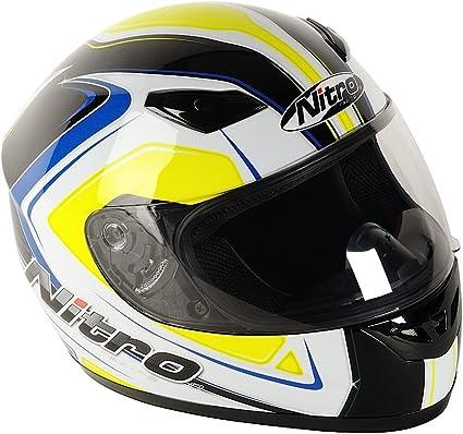 Amazon.es: Nitro 187161XS41 Vertice Casco Moto, Color Blanco, Amarillo y Azul, Talla XS