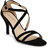 SC Womens Ladies Mid Low High Heel Strappy Crossover Party Wedding Prom Sandals Shoes UK Sizes 3 4 5 6 7 8