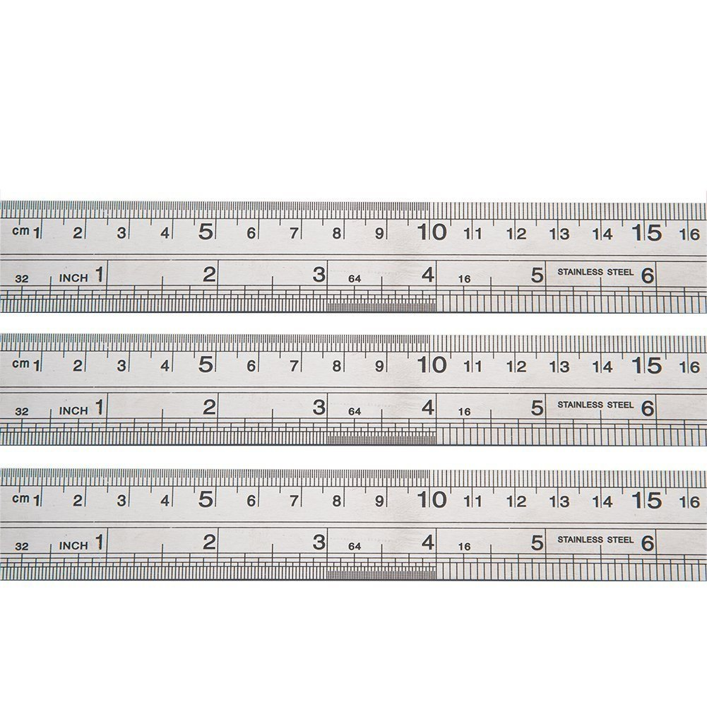 6 Pack Stainless Steel Ruler 12 inch 6 inch Office Ruler 3 Pieces Set Metal Rulers Kit for Engineering, Teaching, Office by SZLFSX (Image #3)