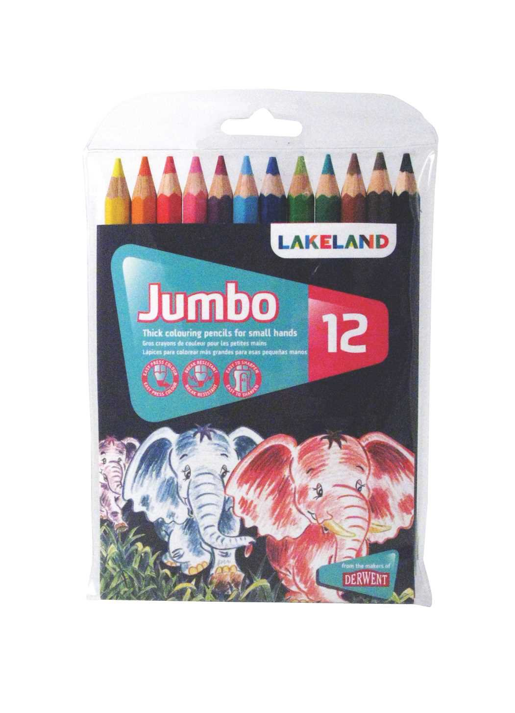 Derwent Lakeland Jumbo Coloring Pencils, 5.4mm Core, Pack, 12 Count (33326)