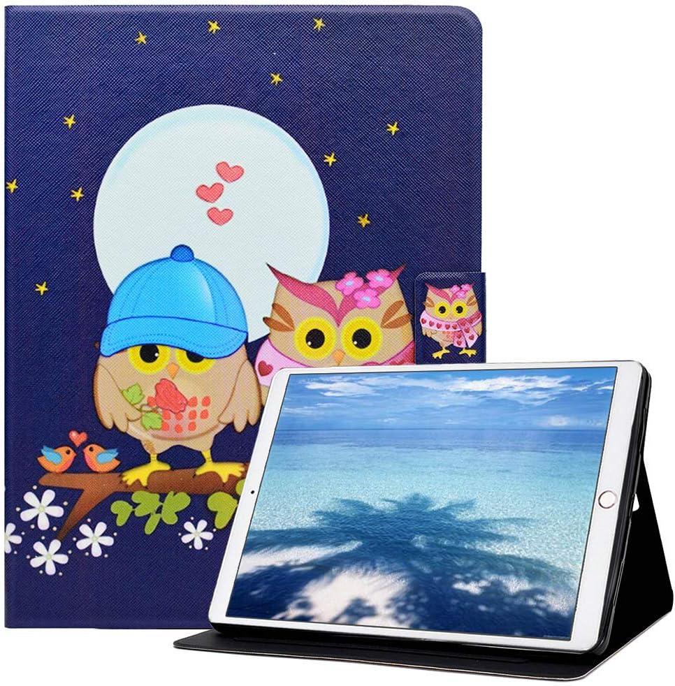 Billionn iPad 9.7 2018/2017 Case, Kids Cute Slim PU Leather Soft TPU Inner, Stand Smart Cover Auto Wake/Sleep for Apple iPad 9.7 Inch 2018/2017/ iPad Air 2/ iPad Air, Couple owl