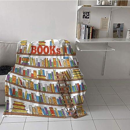 Custom homelife Manta Infantil para sofá Cama de 50 por 60 Pulgadas, Moderno, librero de Biblioteca con una Escalera Escuela educación Campus Vida Caricatura ilustración: Amazon.es: Hogar