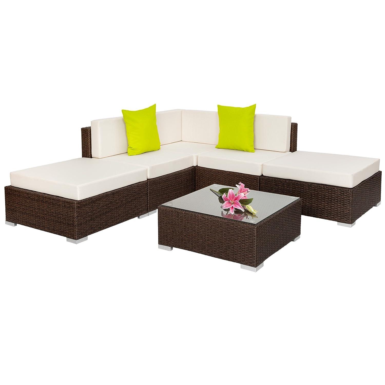TecTake Hochwertige Aluminium Polyrattan Lounge Sitzgruppe mit Glastisch inkl. Kissen und Klemmen antik braun
