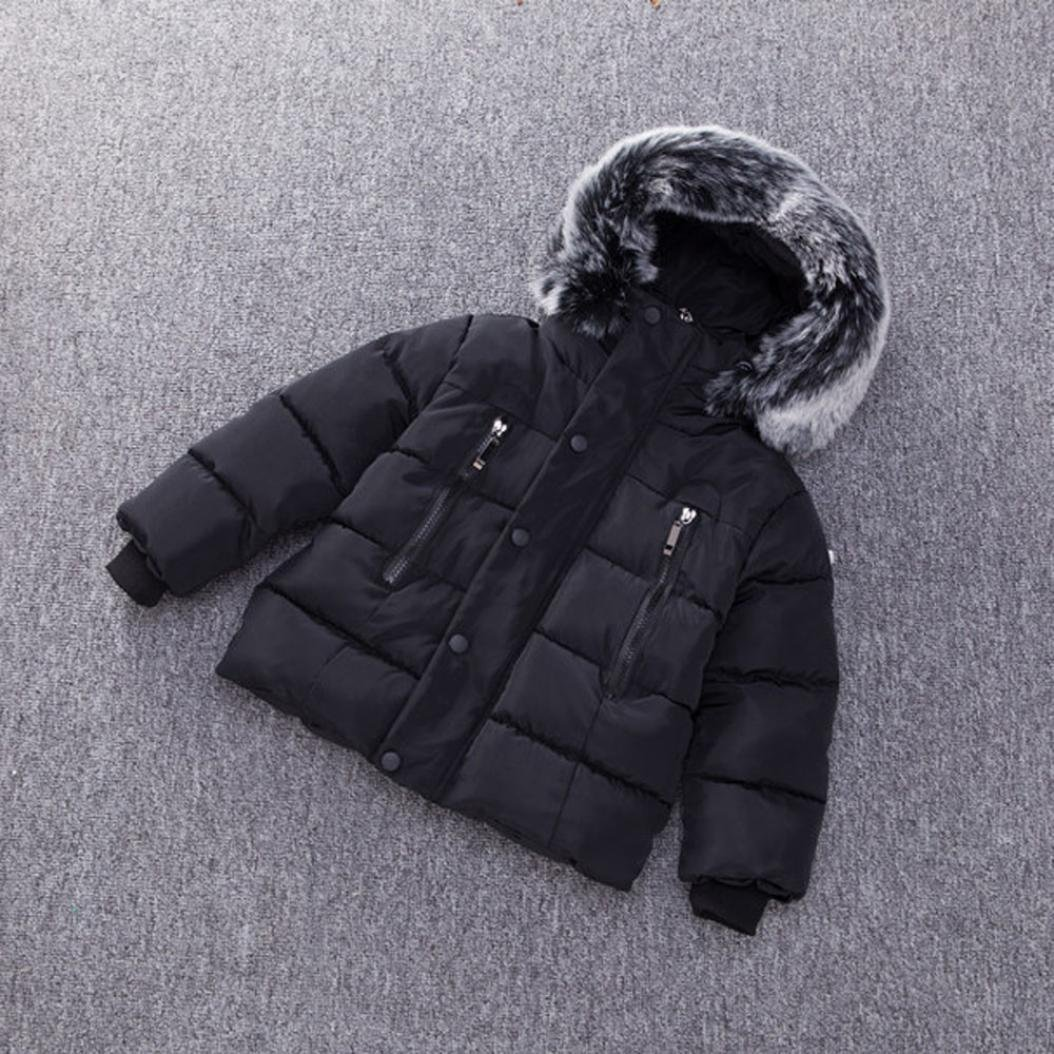 Tenworld Boys Winter Padded Jacket Thick Hooded Parka Outwear Coat with Faux Fur Trim