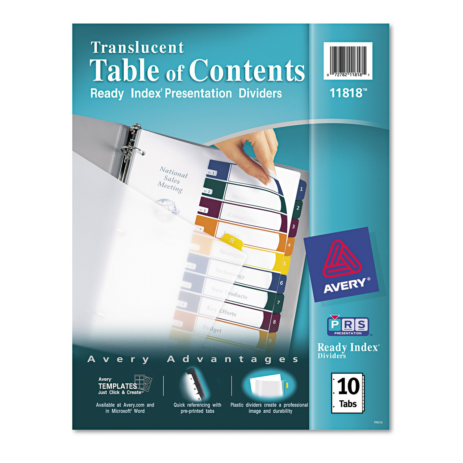 Avery  Ready Index  Translucent Table Of Contents Dividers, 10 Tab Set (11818) by Avery
