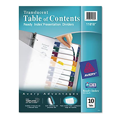 Amazon Avery Ready Index Translucent Table Of Contents