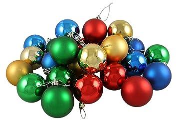 Amazon.com: 24ct Matte/Shiny Primary Color Shatterproof Christmas ...