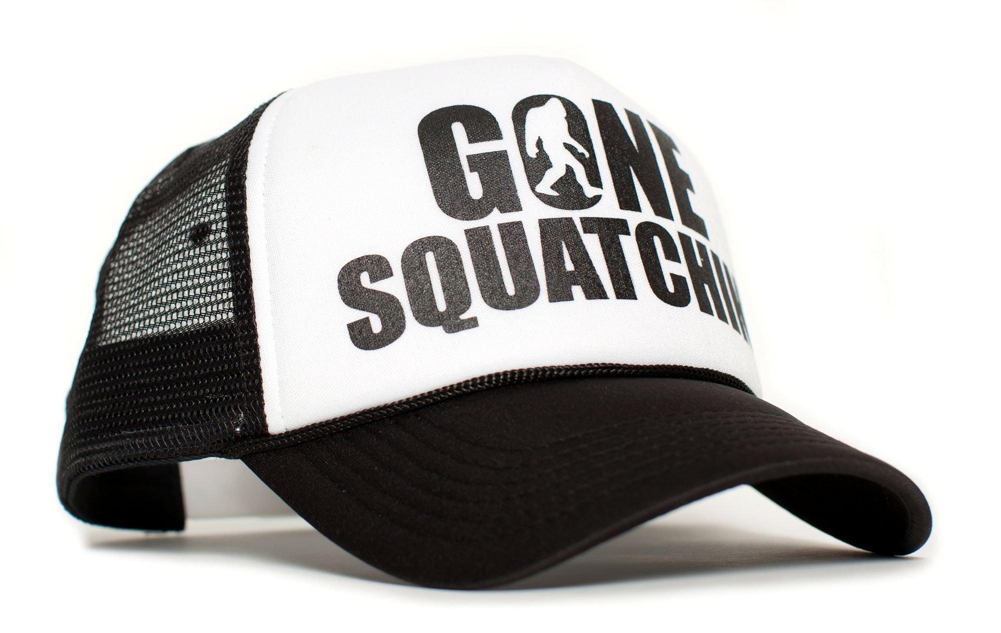 Posse Comitatus Gone Squatchin' Unisex-Adult Trucker Hat -One-Size Black/White