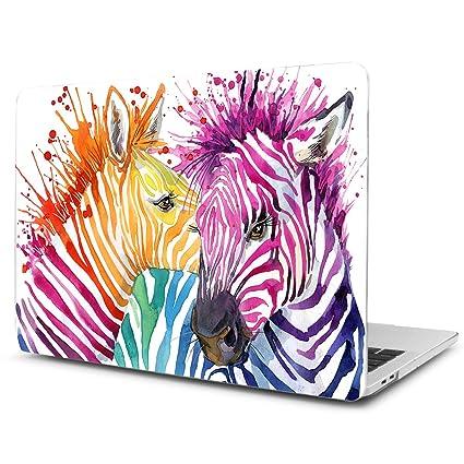 TwoL Carcasa MacBook Pro 13 2015, Funda Dura Carcasa para MacBook Pro 13 Retina A1502/A1425 Cebra Acuarela