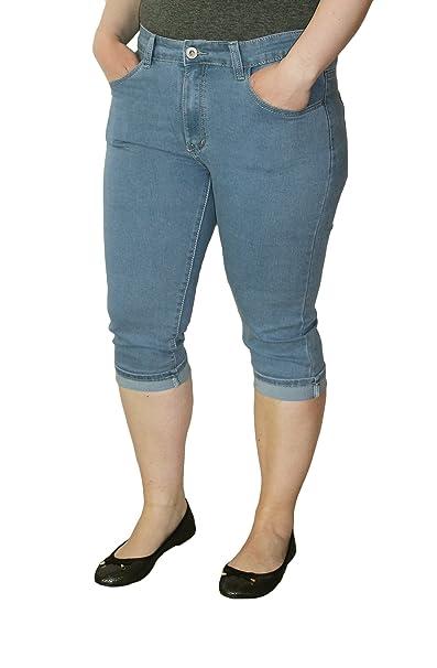 ed27a0527b2e X-Max Damen Jeans Stretch 3 4 Hose Caprihose kurz Dunkel Hell Blau  Ziernähte Übergrößen Gr. 42-50  Amazon.de  Bekleidung