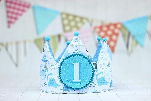 Corona de tela bebé primer cumpleaños con dibujos de ...
