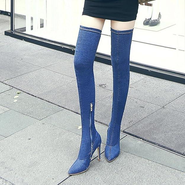 SOMESUN Pumps Stiefel Damen High Heels Stiefeletten Damen Schuhe Cowboy über Knie Stiefel Shoes (36, Blau #1)