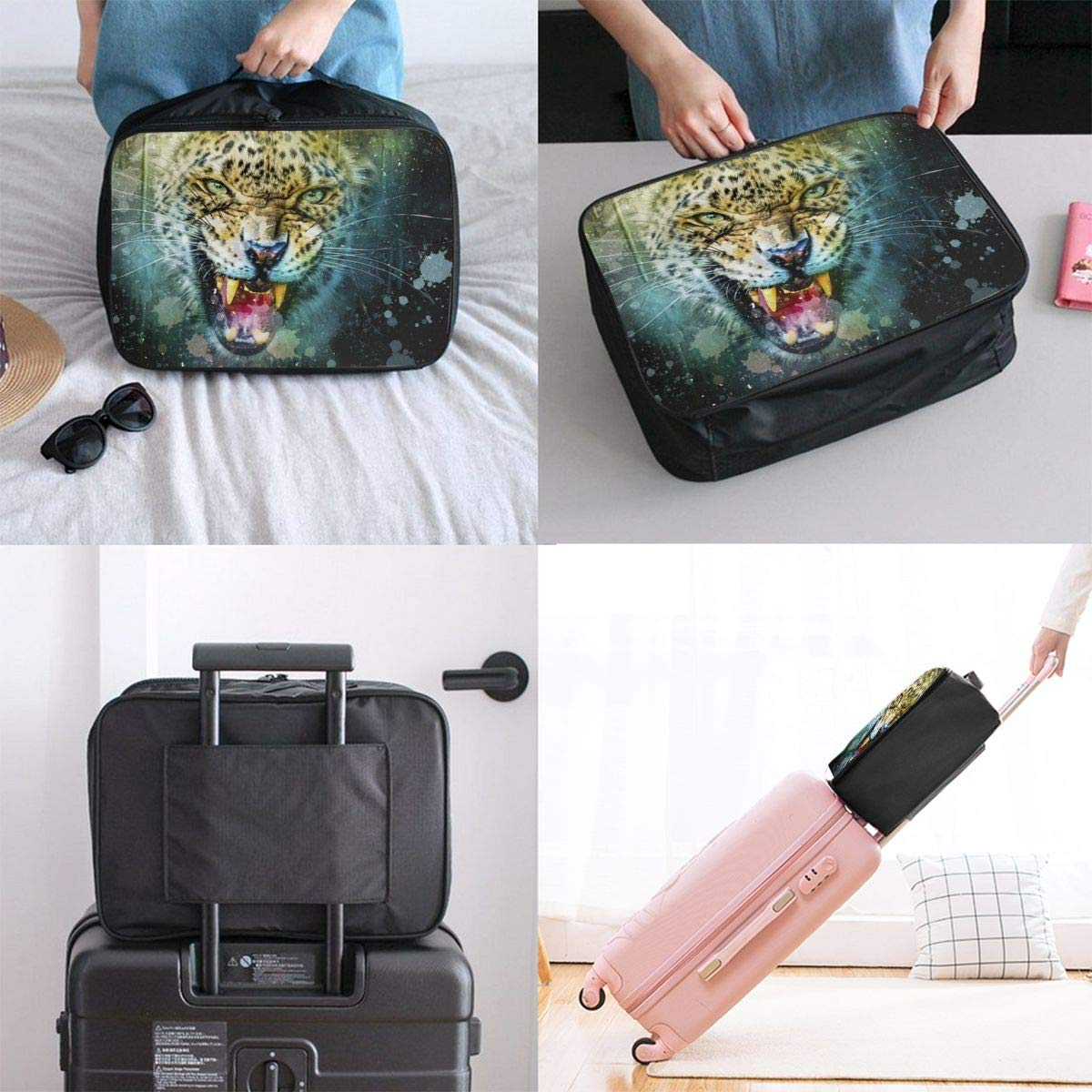 Leopard Predator Animal Travel Lightweight Waterproof Foldable Storage Carry Luggage Large Capacity Portable Luggage Bag Duffel Bag