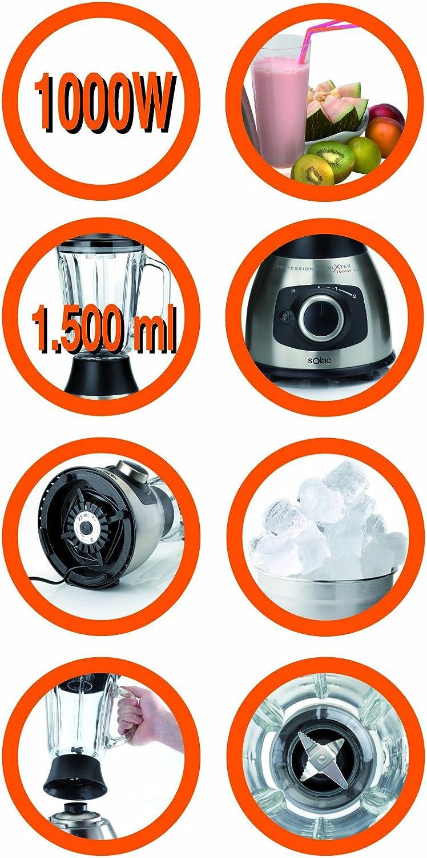 Solac Professional Mixer 1000W Inox, Acero inoxidable, Vidrio ...