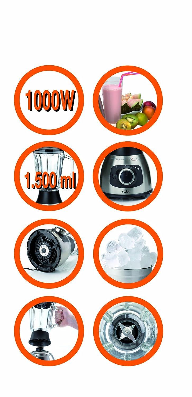 Solac Professional Mixer 1000W Inox, Acero inoxidable, Vidrio, Negro, 220 - Licuadora: Amazon.es: Hogar