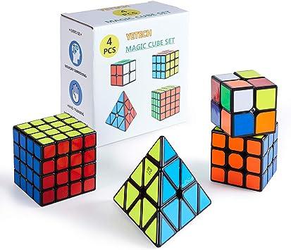 Yetech 4PCS Cubo Mágico Puzzle Pack - Speed Cubo Magic Puzzle Cube 2x2 3x3 4x4 Pyramid Cubo de Regalo Set para Juegos Rompecabezas y Regalo Festivo: Amazon.es: Juguetes y juegos