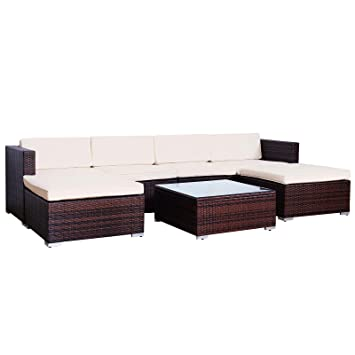 Amazon De Svita Lugano Poly Rattan Lounge Garten Set Xxl Sofa Set