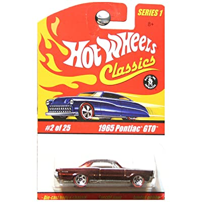Hot Wheels Classics Series 1 1965 Pontiac GTO Redline Wheels Dark Red Metallic #2: Toys & Games