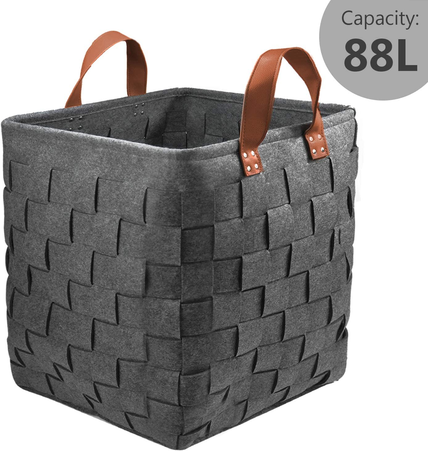"""GOHOME Extra Large Storage Baskets, Felt Organizer Storage Bin for Clothes, Blankets, Towels, Sofa Throws, Toys or Nursery, Large Decorative Laundry Hamper with Durable Handles(16.5""""x16.5""""x19.7""""/88L)"""
