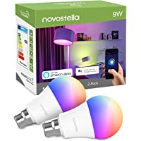 Novostella B22 RGB Alexa Light Bulbs, 9W, LED WiFi Smart Bulb Work with Google Home, IFTTT, Dimmable Timing RGBW, Remote Controlled by Smartphone, (No Hub Required)