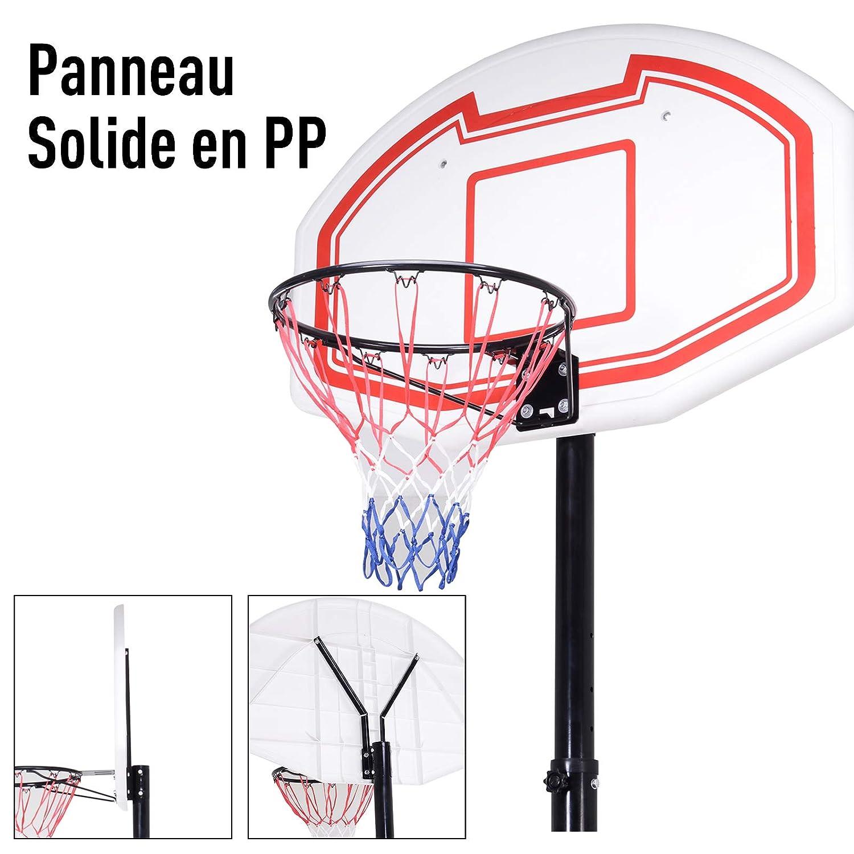 Homcom Panier de Basket-Ball sur Pied avec Poteau Panneau Base de lestage sur roulettes Hauteur r/églable Noir Blanc