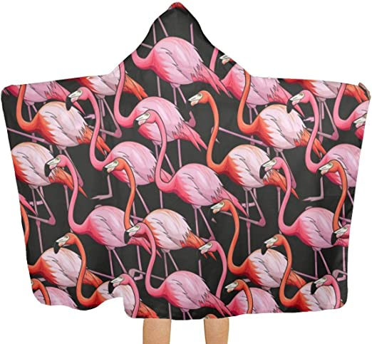 Flamingo Printed Surf Poncho Robe With Hood Thick Quick Dry Microfiber Wetsuit