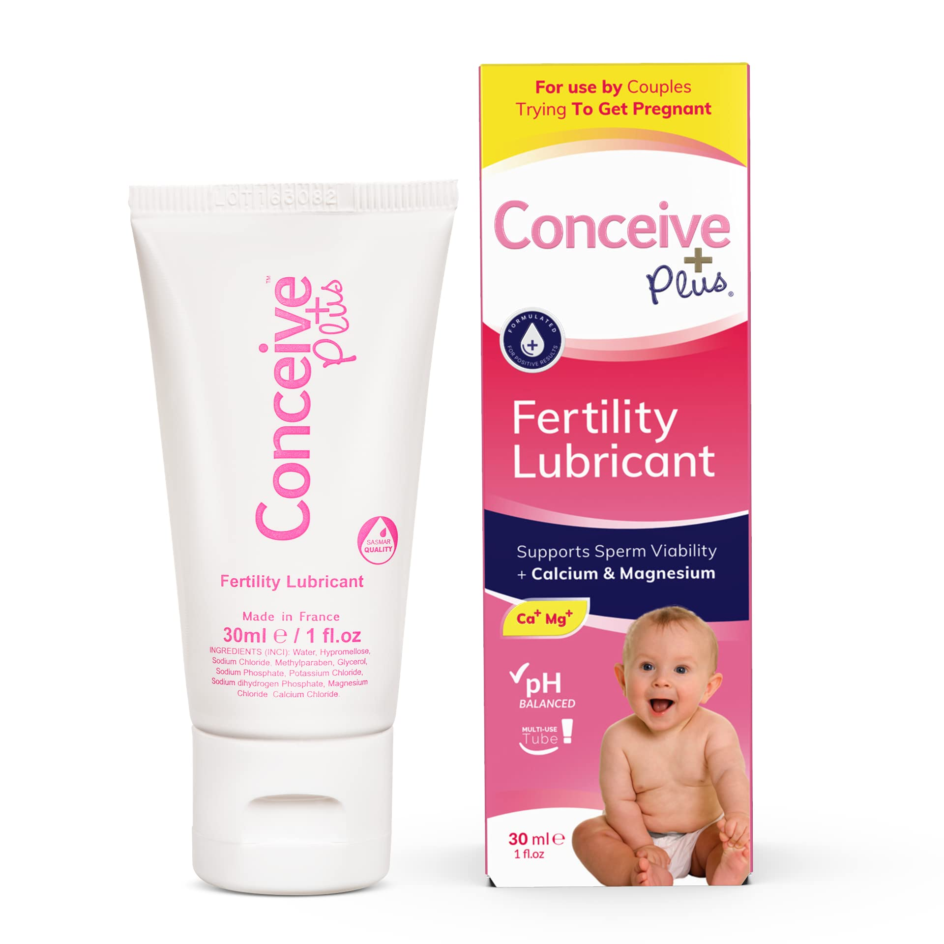 CONCEIVE PLUS Travel Size Fertility Lubricant for Women - Calcium + Mg - Use When Trying to Conceive - Vaginal Moisturizer - 1 Ounce Multi-Use Tube