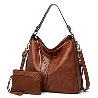Hobo Handbags Women Shoulder Bag Top Handle Satchel Hobo Tote Bag Purse Faux Leather Set 2pcs