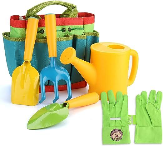 Fitnate - Juego de herramientas de jardín para niños, 6 piezas, herramientas de jardín, incluye regadero, pala,