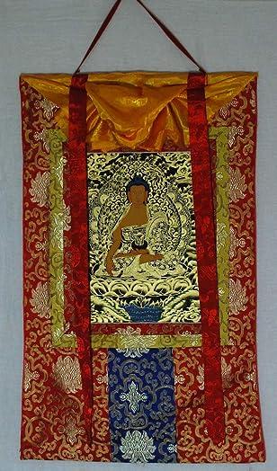 Tibet,Tibetan Handmade Thanka Thangka, Shakyamuni Buddha Red Brocade5