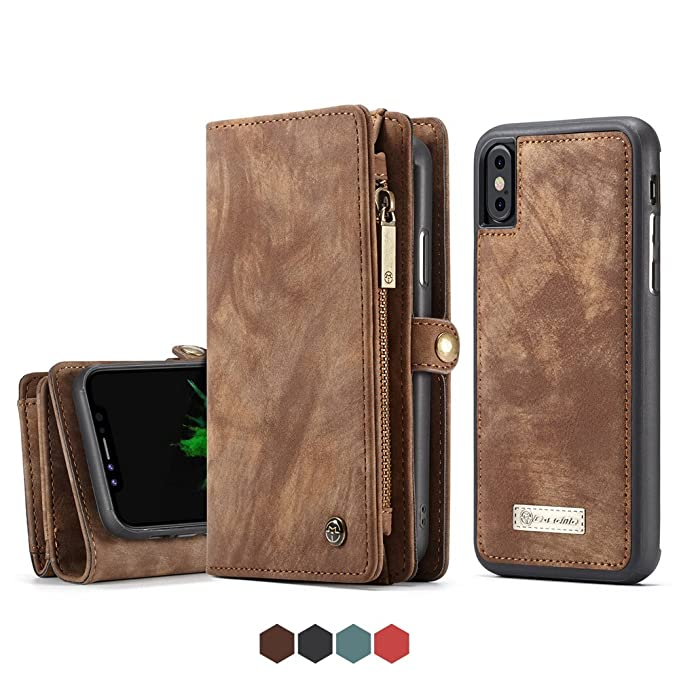 hot sale online 56e37 6b250 For Iphone X Leather Wallet Magnetic Phone Case Detachable Protective Case  with Card Holder Folio Flip Cover