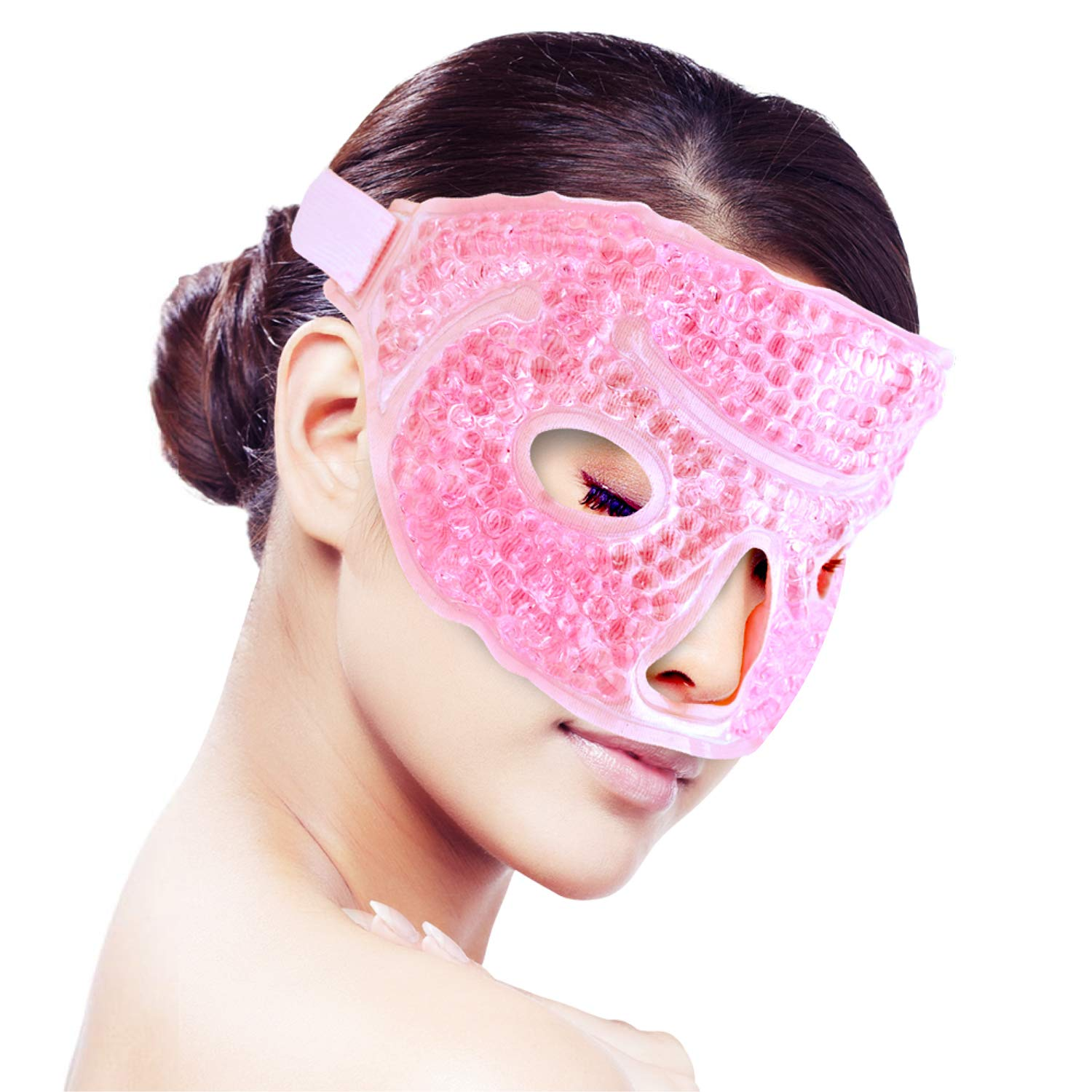 Ice Face/Eye Mask for Woman Man, Hot/Cold Eye Patch Blinder Reusable Gel Beads Ice Mask,Hot Cold Therapy Packs Bag for Facial Pain,Sleeping,Swelling,Migraines, Headaches,Stress Relief[Pink]