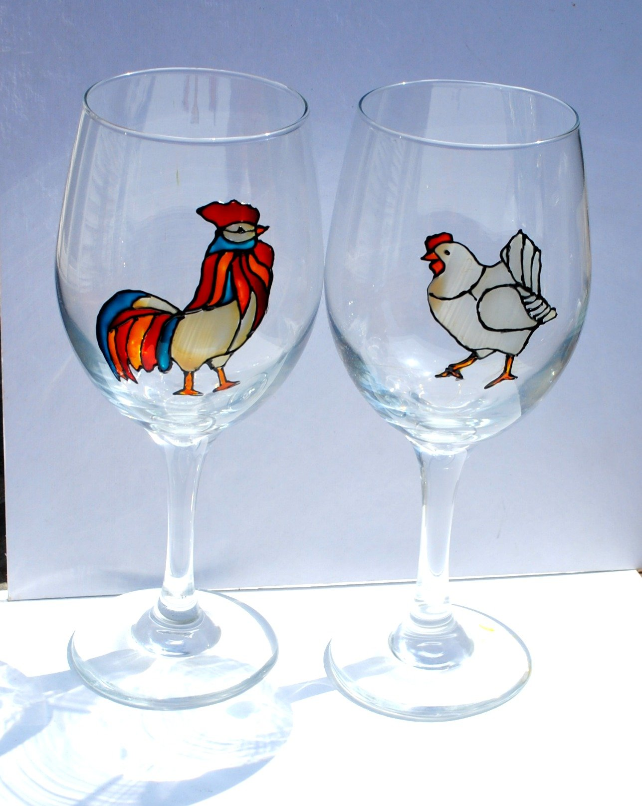 Rooster and Hen Hand Painted Stemmed 20 oz Wine Glasses (Set of 2), Chicken Kitchen Decor.