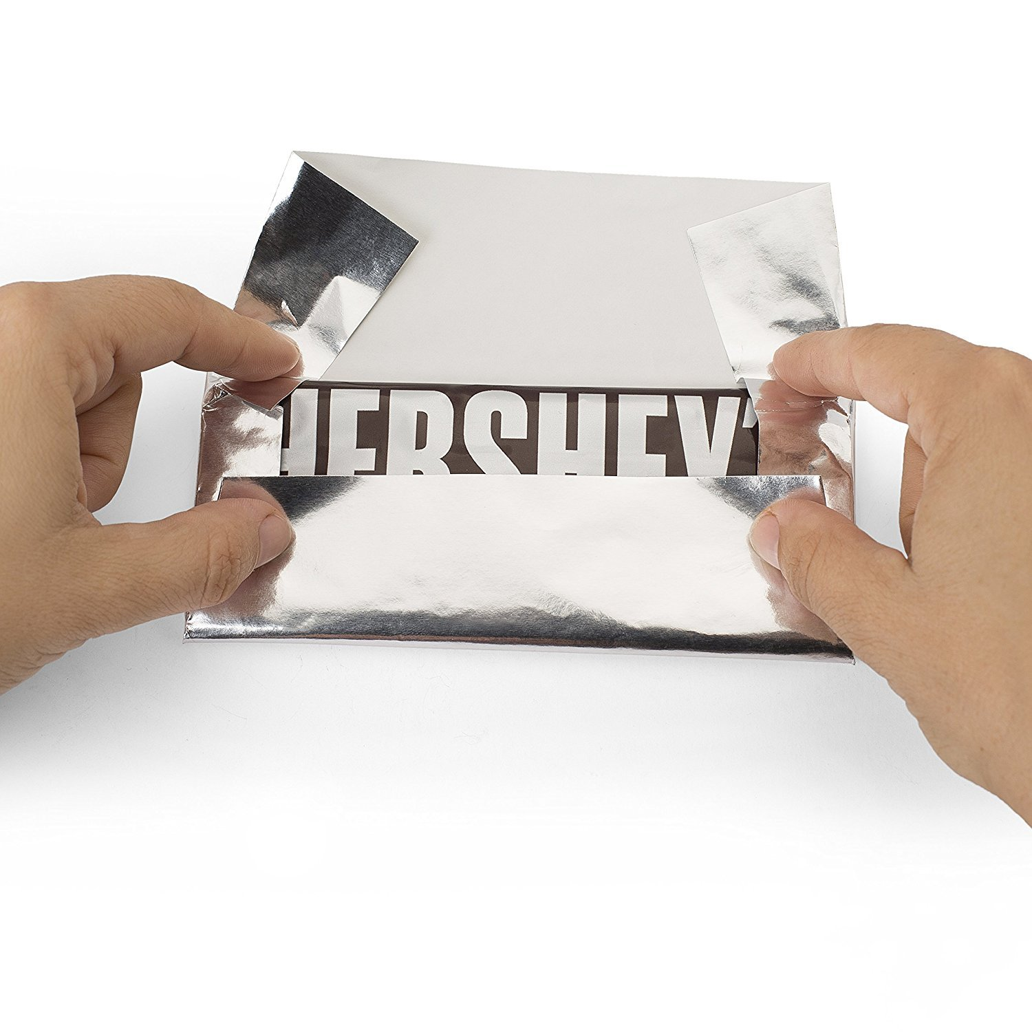 Hershey's Chocolate Bar ''SILVER'' Foil Wrapper , 6'' X 7.5'' , for Over Wrap the Bar, Pack of 100