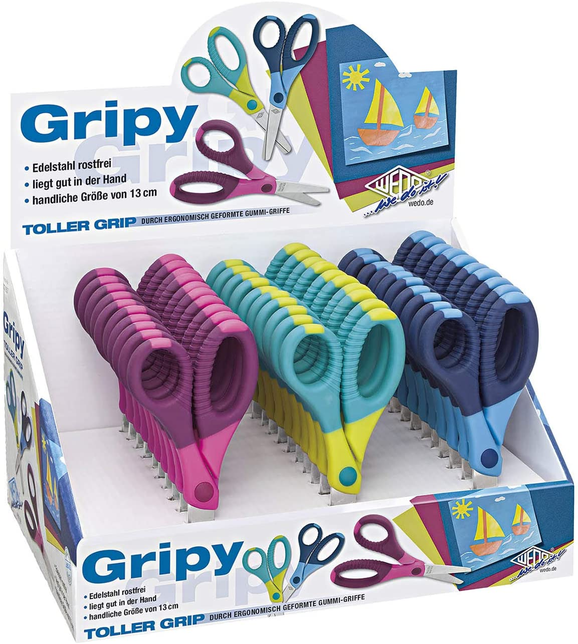 Wedo Gripy Tijeras para manualidades Gripy 13/cm, puntas redondeadas, acero inoxidable Mangos de Goma Ergon/ómica, color azul