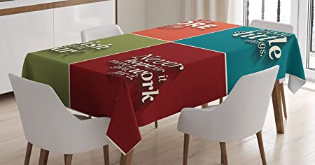 Ambesonne Quotes Decor Tablecloth By Collection Of Minimalistic Style Love More Worry Less Enjoy The