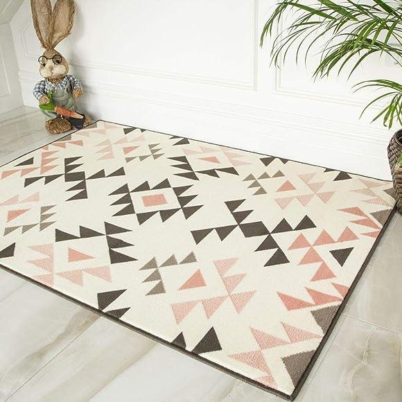 Milan Modern Aztec Tribal Blush Pink Grey Charcoal Design Affordable Living Room Bedroom Rug