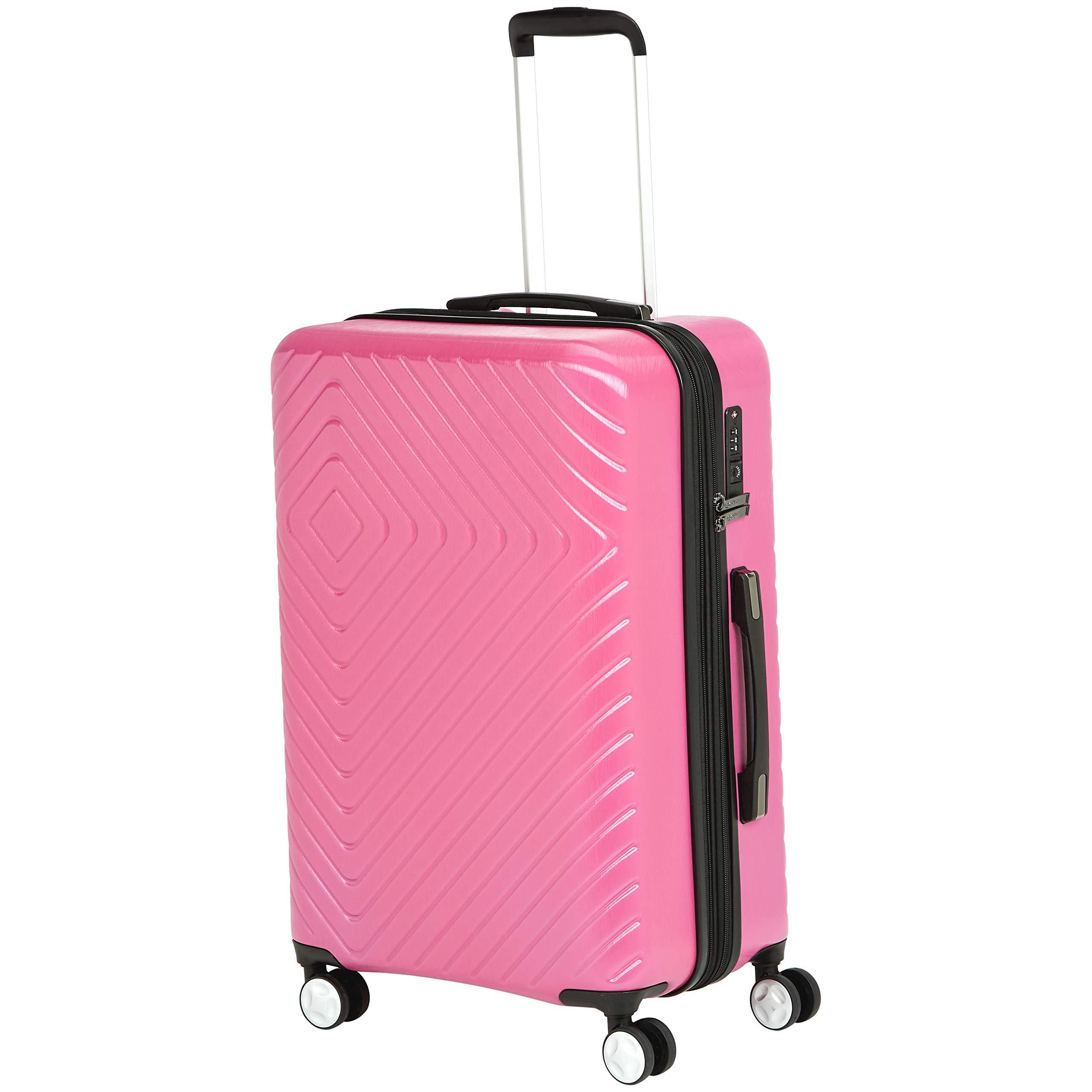 AmazonBasics Geometric Luggage Expandable Suitcase Spinner 24-Inch, Pink