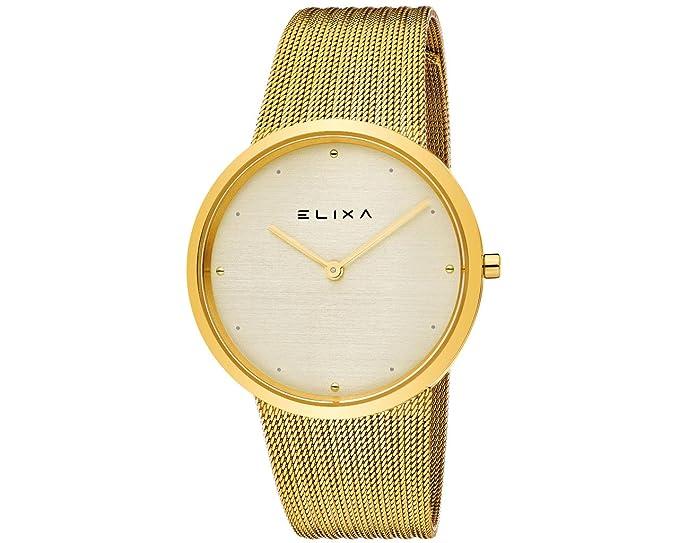 Elixa e122-l497 - oro de malla banda reloj 36 mm Gold-tone Dial: Elixa: Amazon.es: Relojes